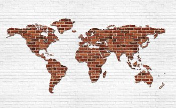 Brick Wall World Map Wallpaper Mural