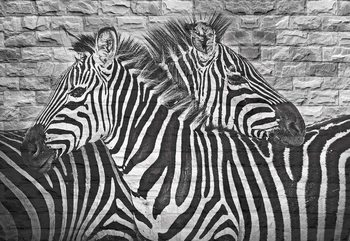 Brick Wall Zebras Wallpaper Mural