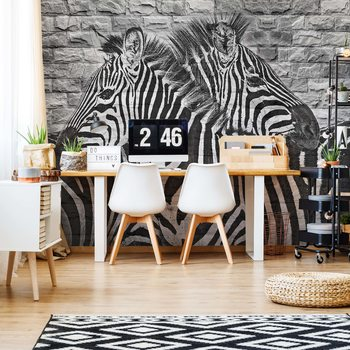 Brick Wall Zebras Wallpaper Mural