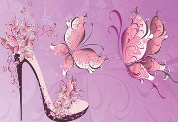 Butterflies And High Heel Shoe Pink Wallpaper Mural
