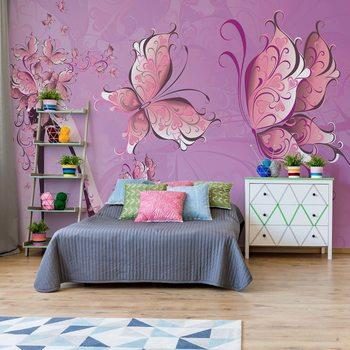 Butterflies And High Heel Shoe Pink Wallpaper Mural