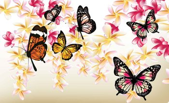 Butterflies Flowers Wallpaper Mural