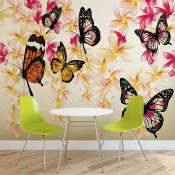Butterflies Flowers Wallpaper Mural