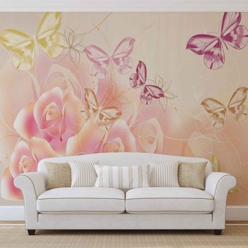 Butterflies Flowers Roses Wallpaper Mural