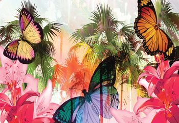 Butterflies Palms Flowers Modern Tropical Wallpaper Mural