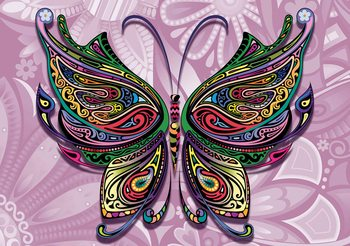 Butterfly Flowers Abstract Colours Wallpaper Mural