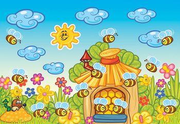 Cartoon Bees And Sunshine Wallpaper Mural