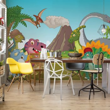 Cartoon Dinosaurs Wallpaper Mural
