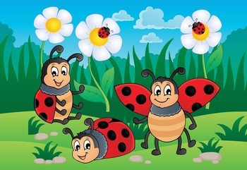Cartoon Ladybirds Wallpaper Mural