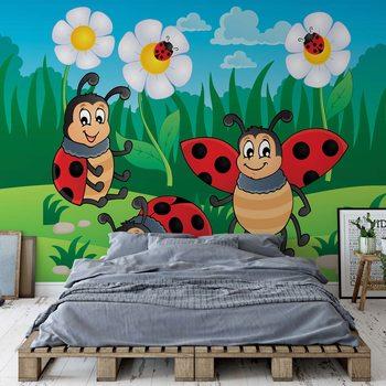 Cartoon Ladybirds Wallpaper Mural