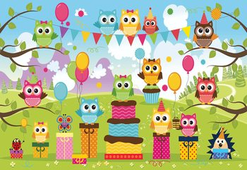 Cartoon Owl Party Wallpaper Mural