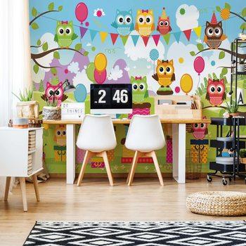 Wallpaper Mural Cartoon Owl Party