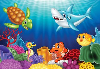Cartoon Sea Creatures Wallpaper Mural
