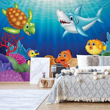 Cartoon Sea Creatures Wallpaper Mural