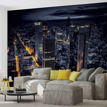 City Frankfurt Skyline Night Lights Wallpaper Mural