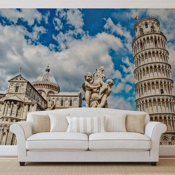 City Piazza Miracoli Leaning Tower Pisa Wallpaper Mural