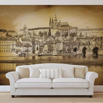 City Prague Bridge Cathedral River Sepia Wallpaper Mural