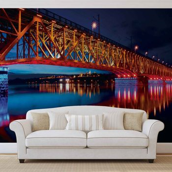 City Skyline Bridge Reflection Night Wallpaper Mural