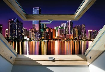 City Skyline Night 3D Skylight Window View Wallpaper Mural