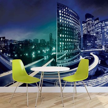 City Skyline Night Wallpaper Mural