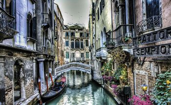 City Venice Canal Bridge Art Wallpaper Mural