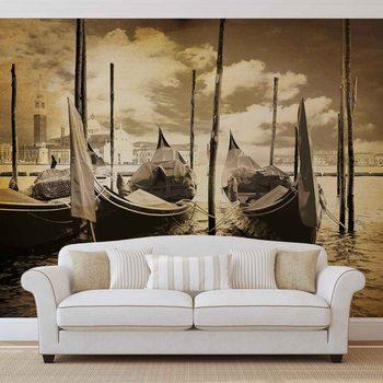 City Venice Gondolas Boats Sepia Wallpaper Mural