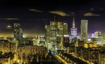 City Warsaw Night Travel Wallpaper Mural
