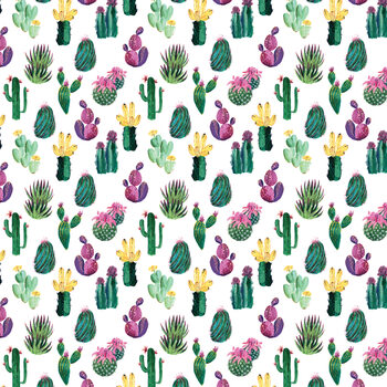 Colorful painterly cacti Wallpaper Mural