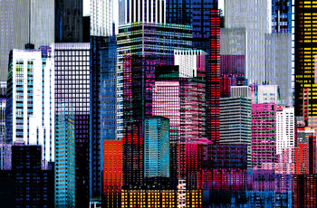 COLOURFUL SKYSCRAPERS Wallpaper Mural