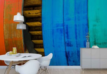 Colourful Wood Wallpaper Mural