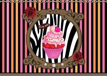 Cupcake Stripes Wallpaper Mural