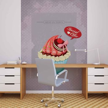 Cupcake Vintage Retro Wallpaper Mural