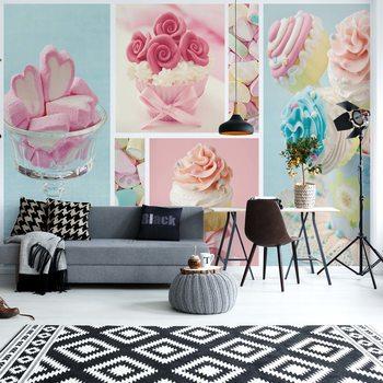 Cupcakes And Marshmallows Wallpaper Mural