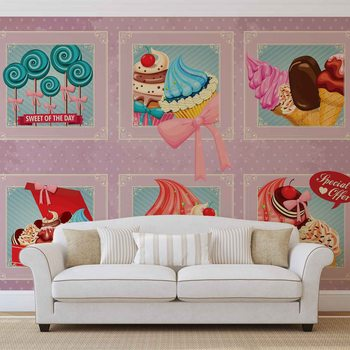 Cupcakes Pink Retro Wallpaper Mural