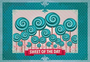 Cupcakes Turquoise Retro Wallpaper Mural