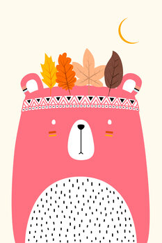Cute Little Bear PINK Wallpaper Mural
