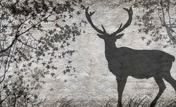 Deer Tree Leaves Wall Wallpaper Mural