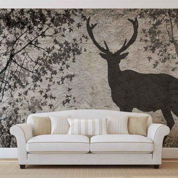 Deer Tree Leaves Wall Wallpaper Mural