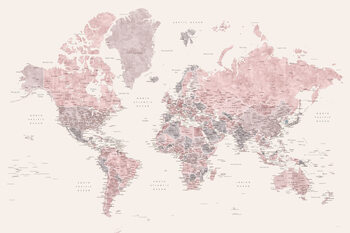 Detailed watercolor world map in dusty pink and cream, Madelia Wallpaper Mural