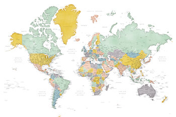 Detailed world map in mid-century colors, Patti Wallpaper Mural