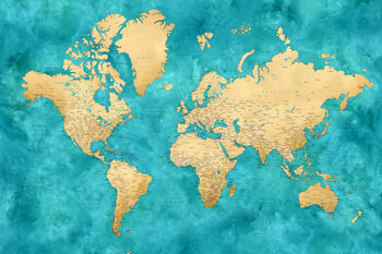 Detailed world map with cities in gold and teal watercolor, Lexy Wallpaper Mural