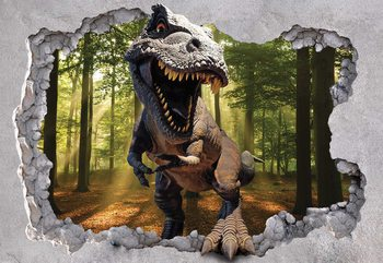 Dinosaur 3D Jumping Out Of Hole In Wall Wallpaper Mural