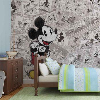 Disney Mickey Mouse Newsprint Vintage Wallpaper Mural