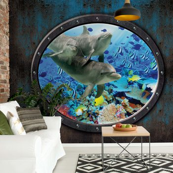 Dolphins Coral Reef Underwater Submarine Window View Wallpaper Mural