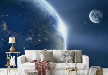 Earth And Moon Wallpaper Mural