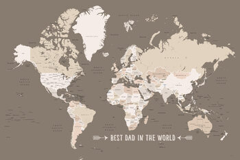 Earth tones world map with countries Best dad in the world Wallpaper Mural