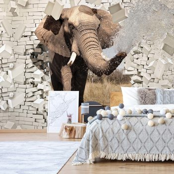 Elephant Bursting Through Brick Wall Wallpaper Mural