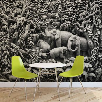 Elephants Jungle Wallpaper Mural