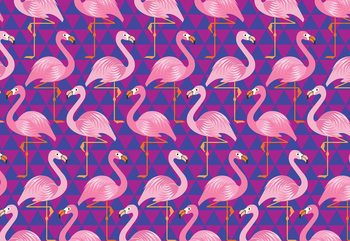 Flamingo Pattern Wallpaper Mural