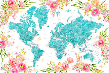Wallpaper Mural Floral bohemian world map with cities, Halen